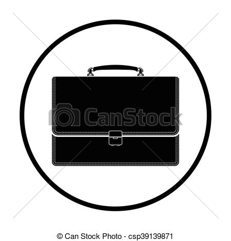 450x470 Suitcase Icon. Thin Circle Design. Vector Illustration.
