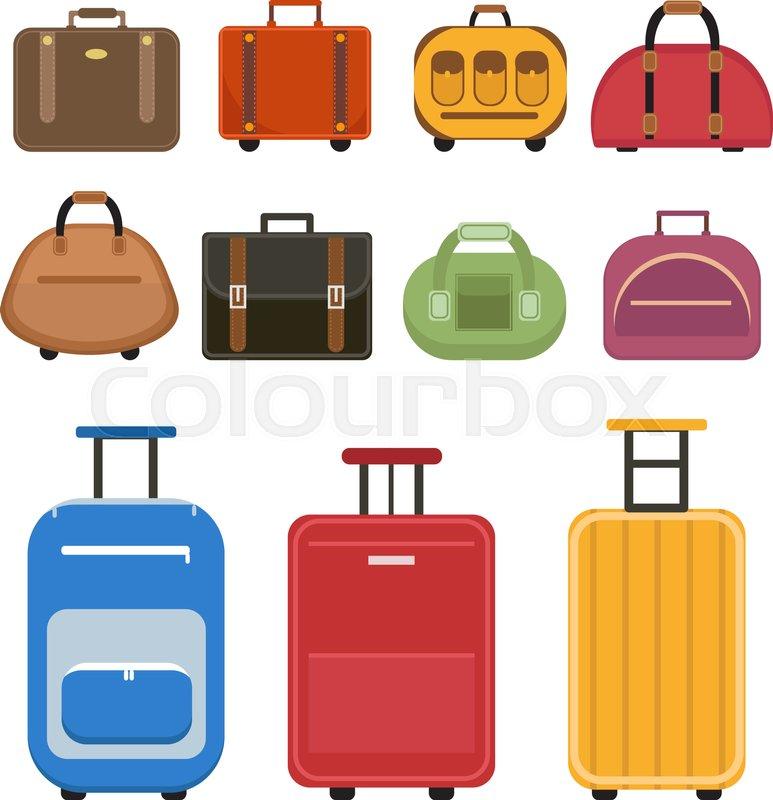 773x800 Travel Bags Icon Set, Flat Style. Luggage Travel Bags Set Isolated