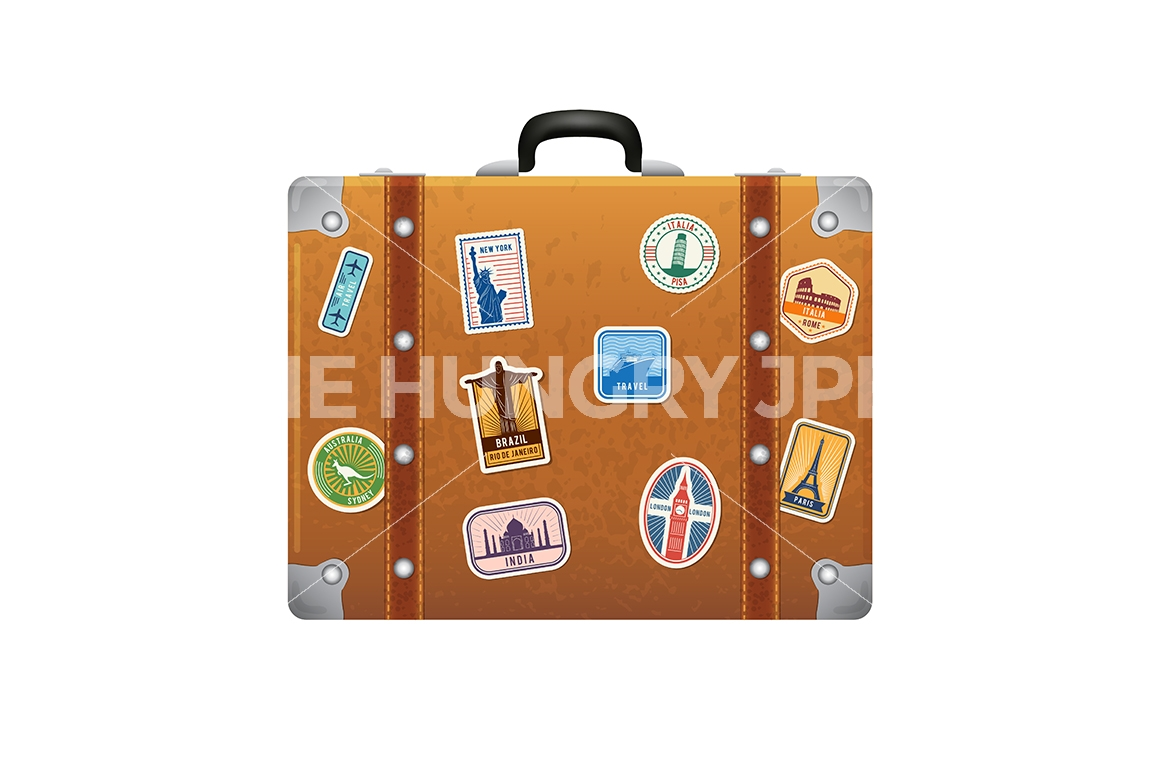 1160x772 Travel Stickers On Retro Leather Suitcase. Vector Labels Set By