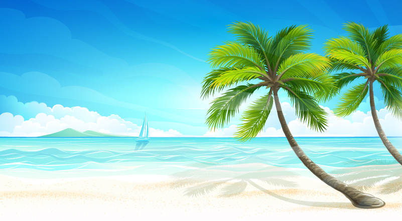 801x441 Summer Beach Background Vector Free Vector Graphic Download