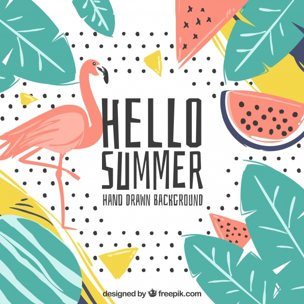 626x626 Tropical Hello Summer Background Vector Free Download