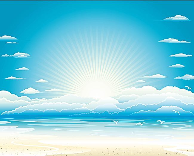 650x522 Vector Blue Ocean Beach Summer Holiday Background, Vector, Blue