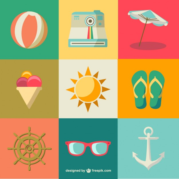 626x626 Flat Summer Icons Free Vector Free Icon Packs Ui Download