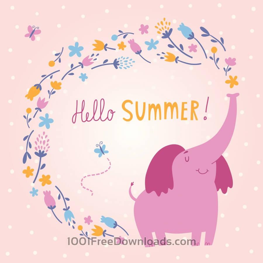 900x900 Free Vectors Hello Summer Vector Card With Cute Elephant