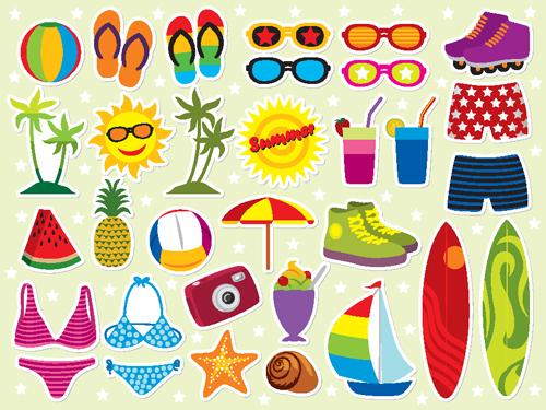 500x375 Set Of Summer Seashore Elements Vector 04 Free Download