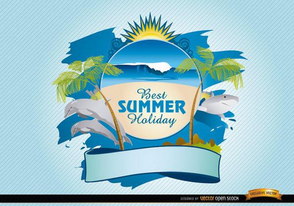 600x421 Summer Beach Logo Vector Free Download 123freevectors
