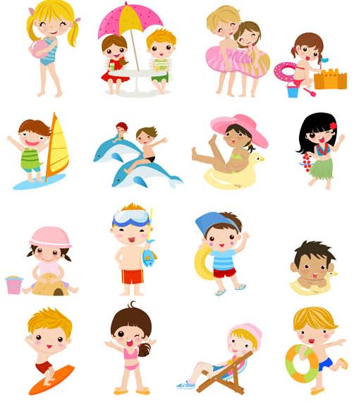 502x573 Children In Summer Vector Ai Format Free Vector Download