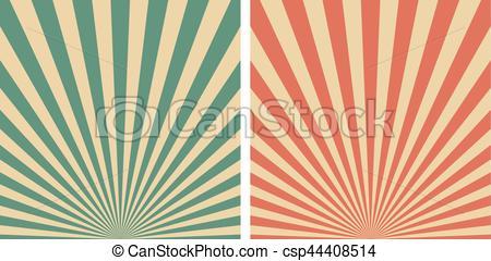 450x240 Retro Sunrise Sun Rays Vector Template Background. Vintage