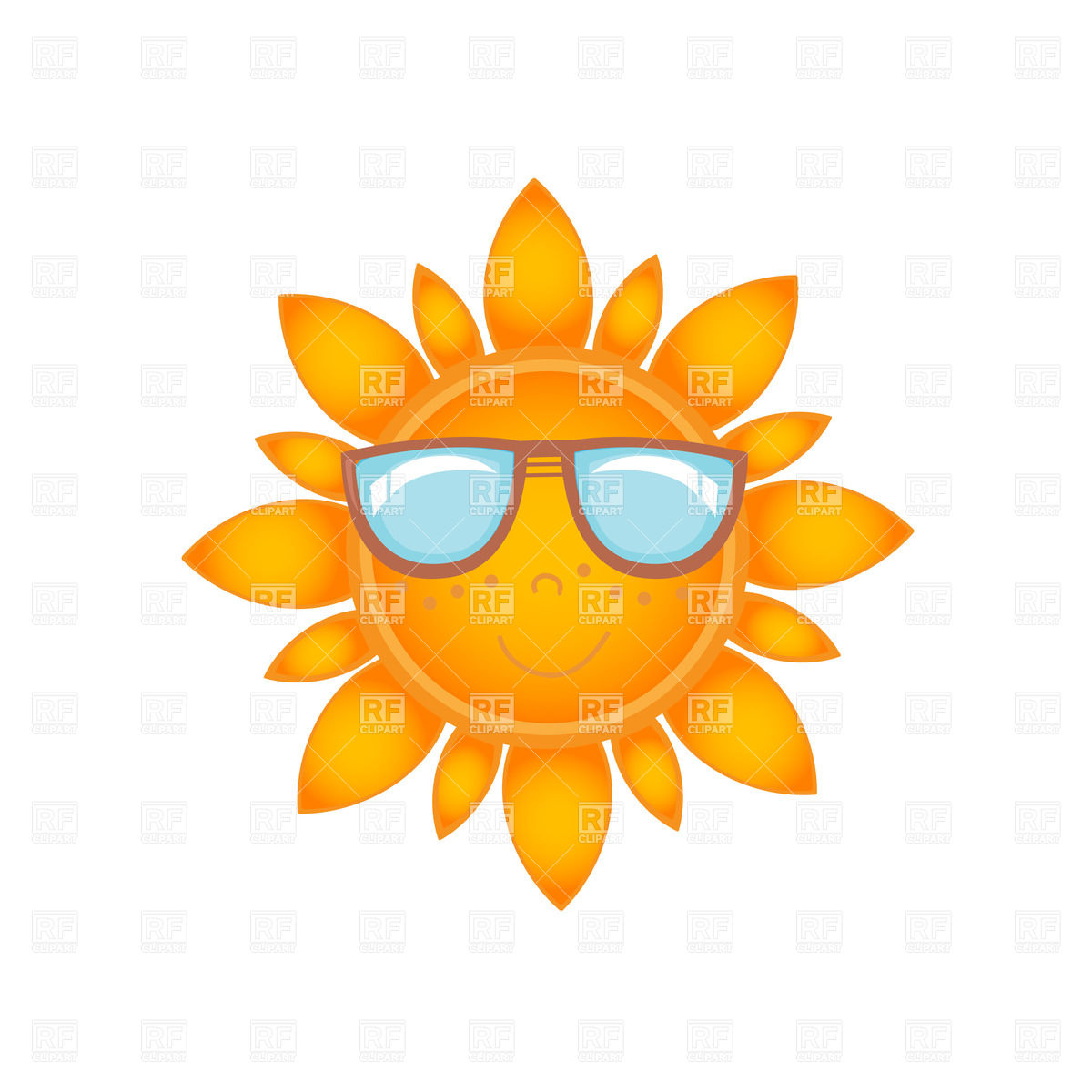 1200x1200 Smiling Sun With Face In Sunglasses Vector Image Vector Artwork