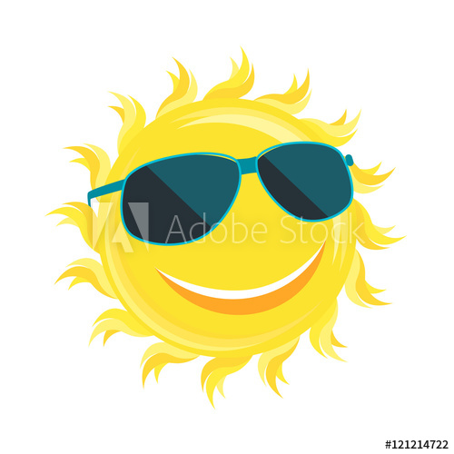 500x500 Sun Face With Sunglassess. Vector