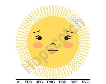 340x270 Sun Face Vector Etsy