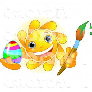 300x300 Vector Graphic Of A Friendly Cute Sun Face Painting An Easter Egg