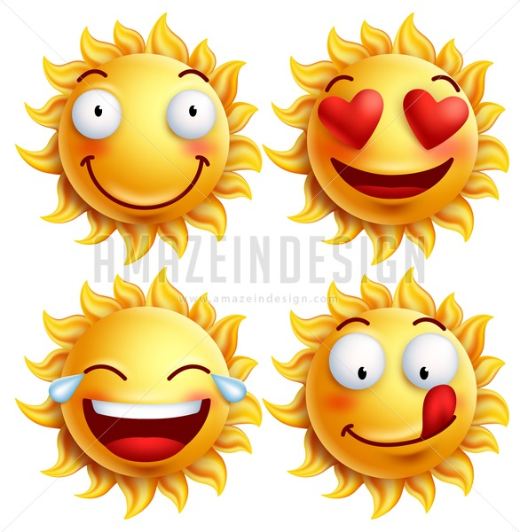 586x600 Vector Sun Face With Funny Facial Expressions