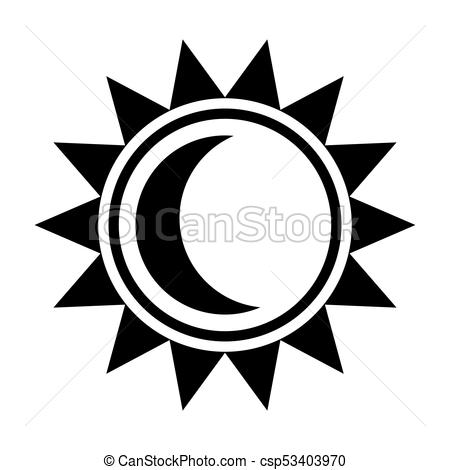450x470 Moon And Sun Icon. Black Sign In Flat Style Isolated On White