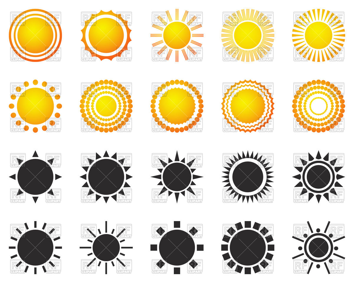 1200x960 Set Of Sun Icons Vector Image Vector Artwork Of Icons And