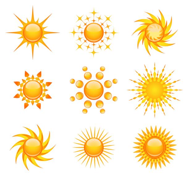 608x570 Sun Icon Vector Set
