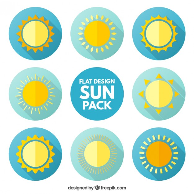 626x626 Sun Icons Pack In Flat Design Vector Free Download
