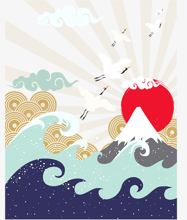 650x765 Mountain Sun Japanese Illustration, Japanese Style, Mountain, Wave