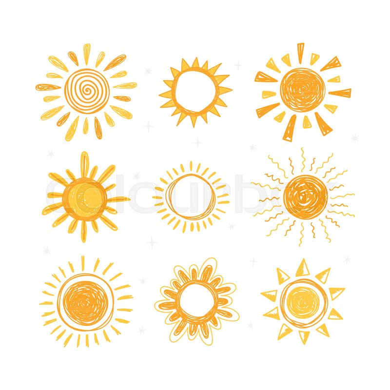 800x800 Set Of Hand Drawn Sun Symbols. Collection Of Doodle Sun Icons
