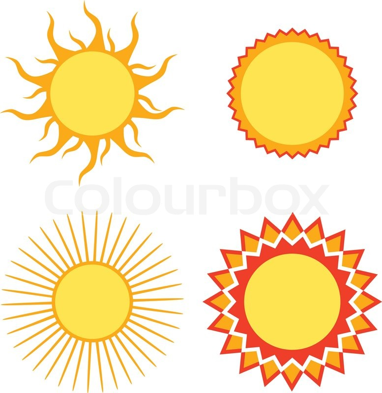 777x800 Set Of Sun Design Elements Vector Illustration Stock Vector