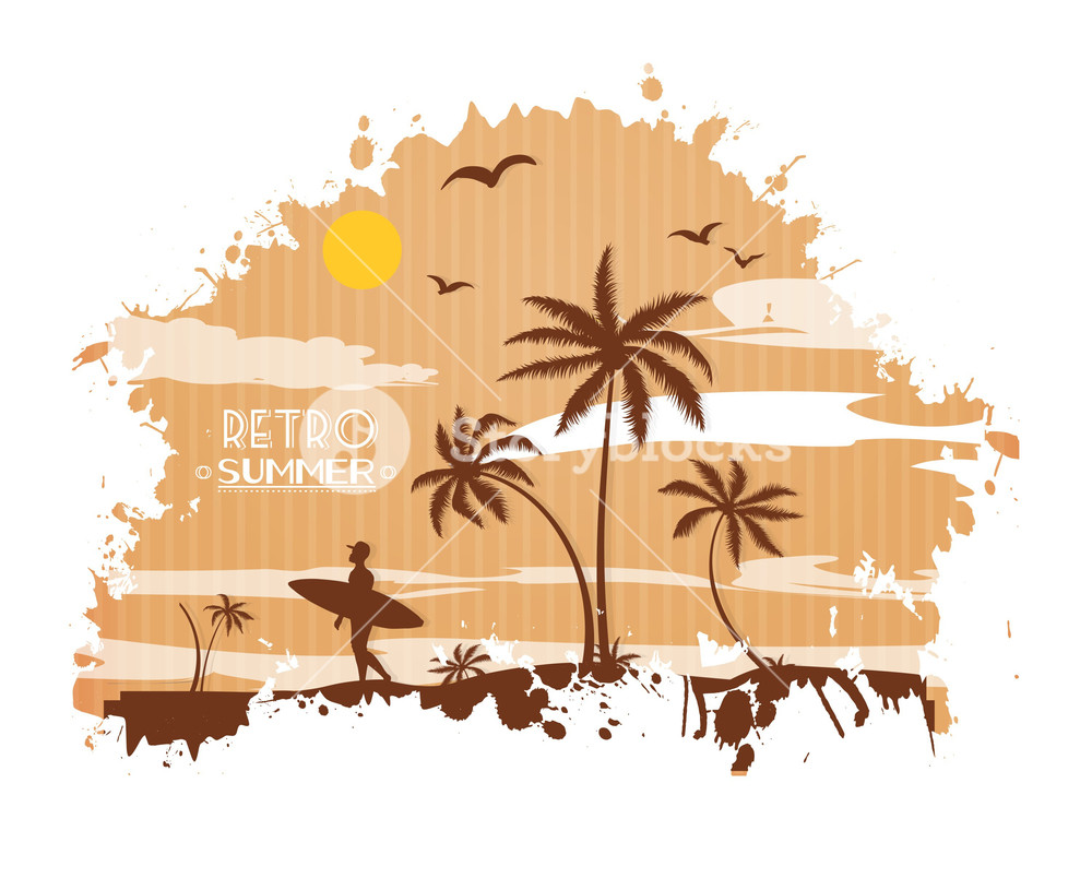 1000x815 Summer Vector Illustration With Palm Tree, Bird, Sunset, Sun