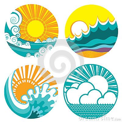 400x400 Sun And Sea Waves. Vector Icons Of Illustration O Tattoos