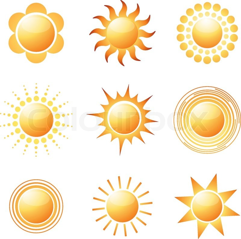 800x793 Abstract Sun Icon Collection Colorful Vector Illustration Stock