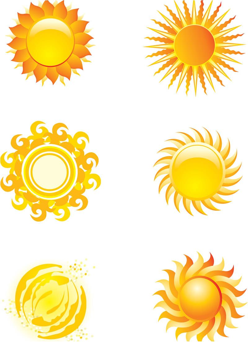 800x1100 Sun Art Set Of 6 Vector Stylized Sun Illustrations Or Logos For