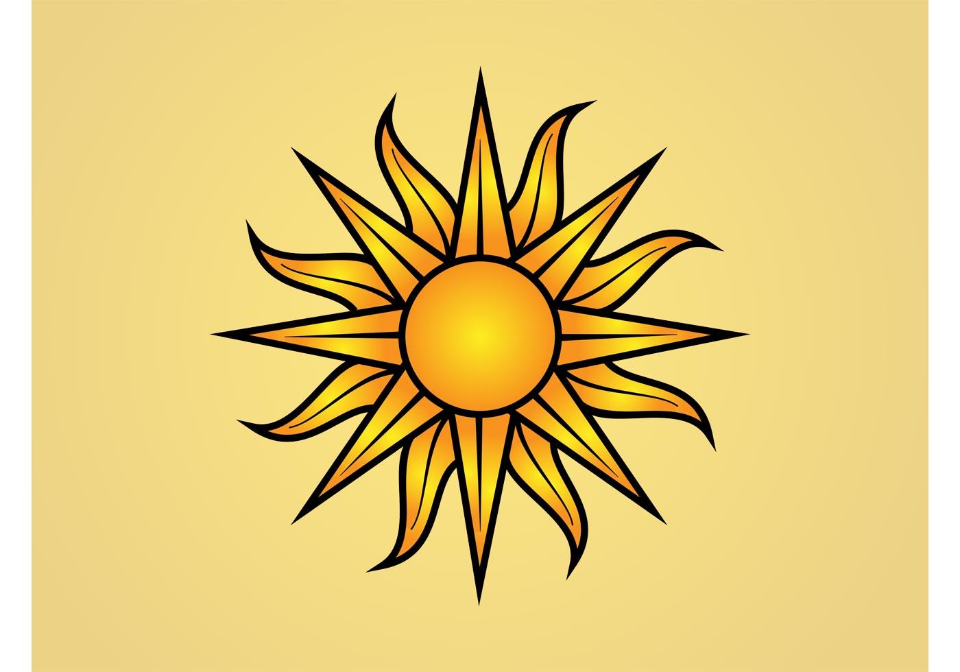 1400x980 Sun Logo Free Vector Art