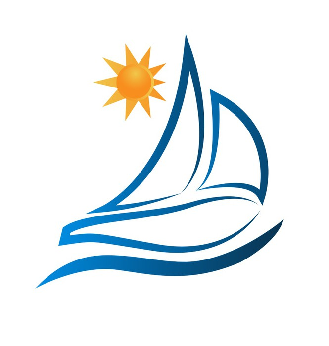 665x700 Boat Waves And Sun Logo Vector Wall Mural We Live To