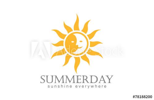 500x324 Sun Logo Design Vector. Day Night Sun Moon Logotype