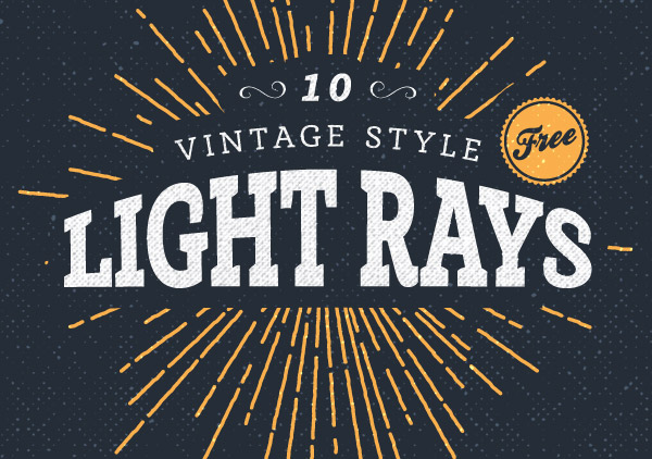 600x422 10 Free Vintage Style Illustrated Light Ray Vectors