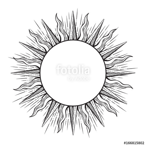 500x500 Hand Drawn Etching Style Frame In A Shape Of Sun Rays Vector