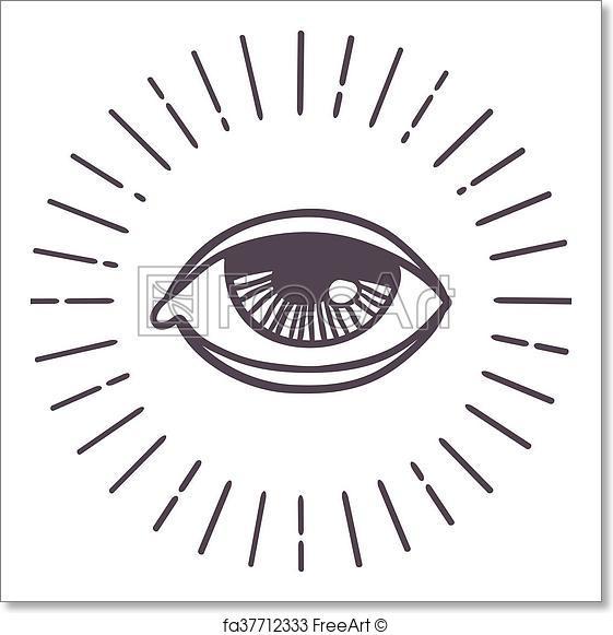 561x581 Free Art Print Of Eye Sun Vector Symbol. All Seeing Eye Symbol On