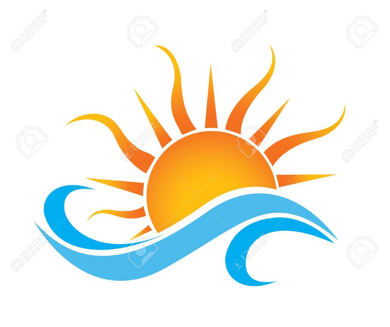 1300x1090 Sea Waves And Rising Sun Vector Illustration Tattoos