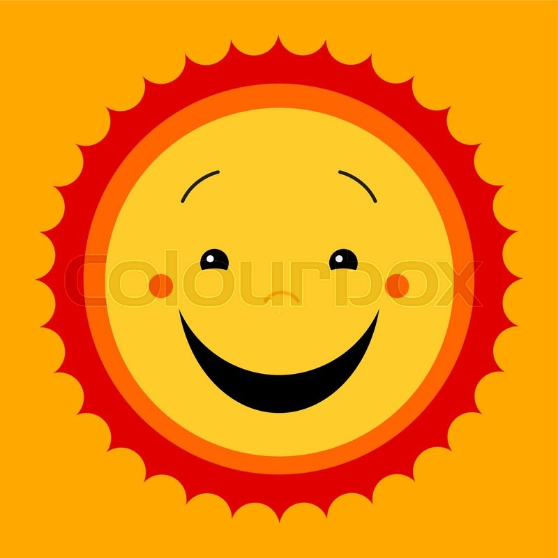 800x800 Smile Sweat Cute Sun. Vector Cute Kids Sun Symbol. Kiddish Sun