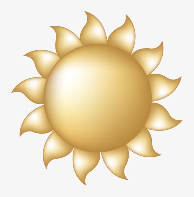 650x661 Vector Metallic Luster Golden Sun, Sun Vector, Vector, Metallic