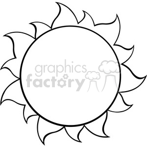 300x300 Royalty Free Black And White Simple Sun Vector Illustration