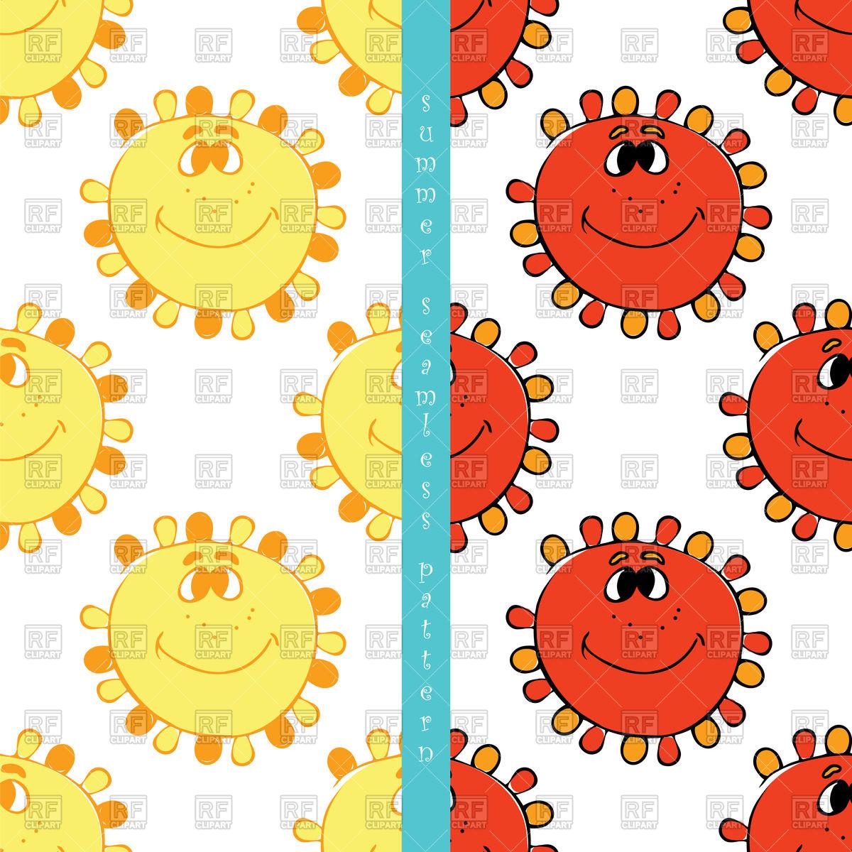1200x1200 Seamless Pattern With Cartoon Sun Vector Image Vector Artwork Of