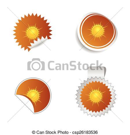 450x470 Sticker Weather Forecast Sun Vector Art Illustration.