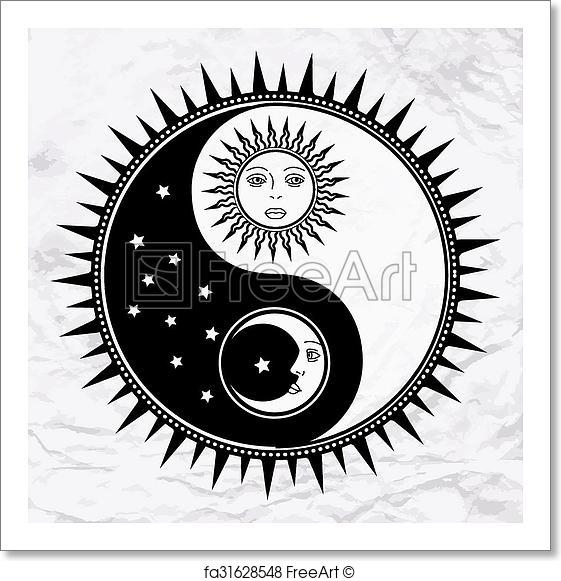 561x581 Free Art Print Of Yin Yang Symbol With Moon And Sun. Vector Yin