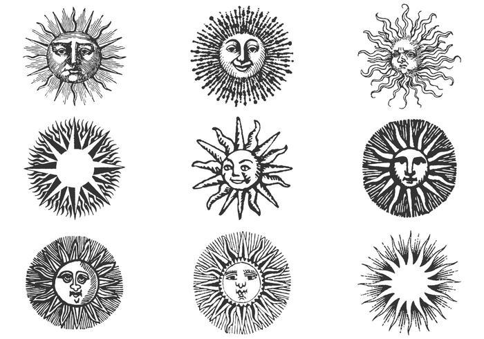 700x490 Hand Drawn Ancient Sun Vector Pack Ii