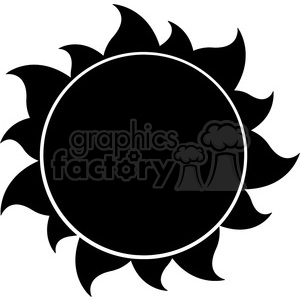 300x300 Royalty Free Black Silhouette Sun Vector Illustration Isolated On
