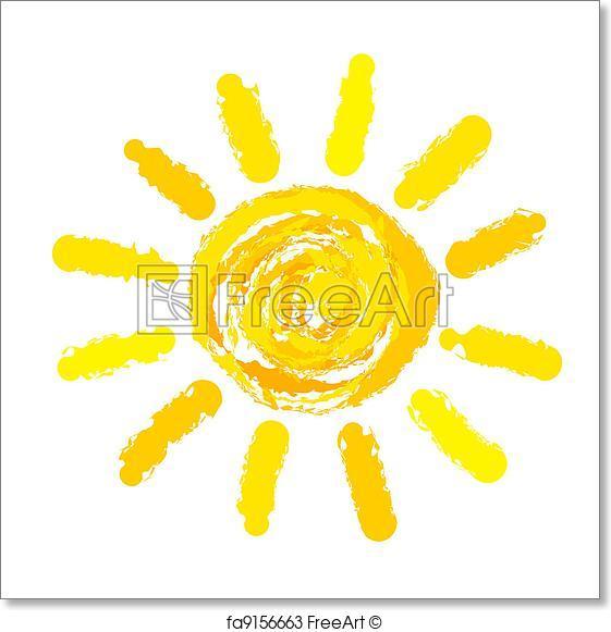 561x581 Free Art Print Of Sun Drawn. Drawing Of Sun. Vector Illustration
