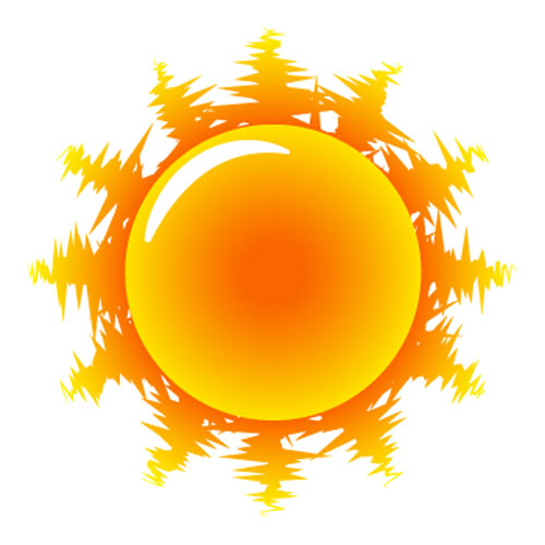 500x500 Painted Red Sun Vector Icon