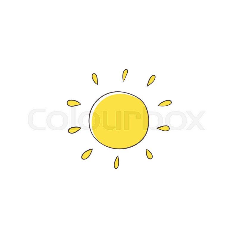 800x800 Flat Cartoon Vector Illustration On Sun Imitating A Kid, Child