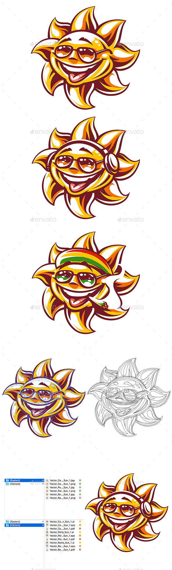 590x1949 Happy Sun Vector Art 3 Versions By Vecster Graphicriver