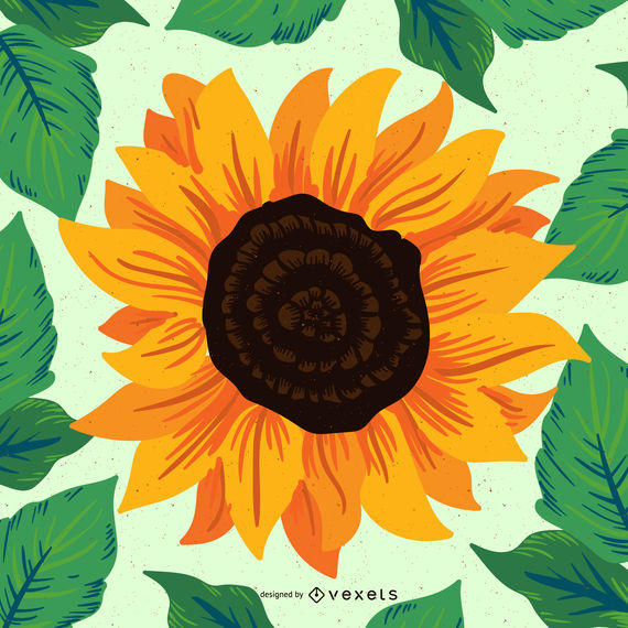 570x570 Hand Drawn Sunflower Illustration