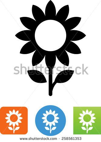 334x470 Black And White Sunflower Vector Sunflower Symbol For Download