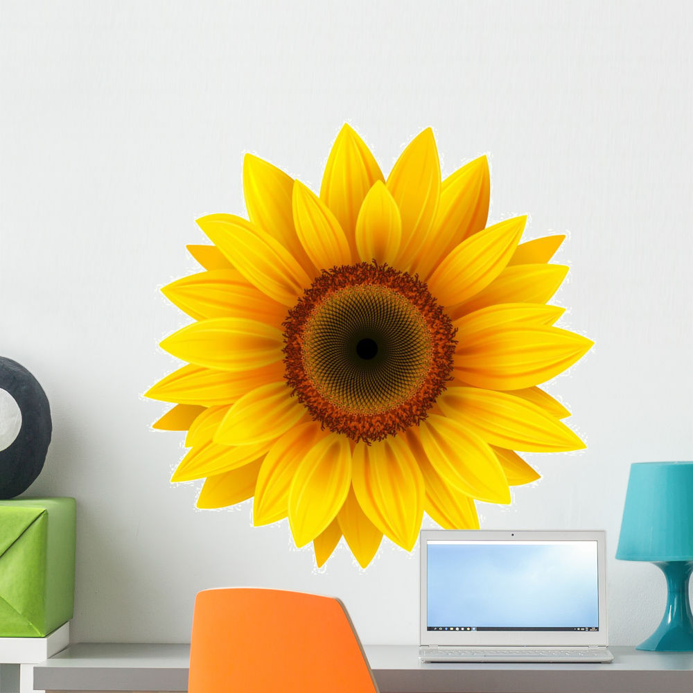1000x1000 Sunflower Vector Wall Decal By Wallmonkeys Peel And Stick Graphic